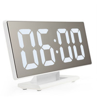 Table Large Screen Alarm Clock Snooze Mirror USB Multifuncti...