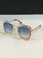 Nuove donne di disegno di moda degli occhiali da sole 0115 del metallo cornice quadrata lente mosaico di cristallo lucido colorato diamante di alta qualità UV400 con la scatola originale