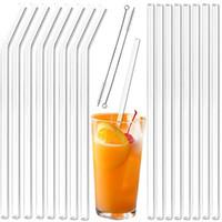 Palha de vidro transparente 200 * 8mm Canudos de vidro dobrados em linha reta reutilizáveis com escova Palhas de vidro ecológicas para smoothies Cocktails