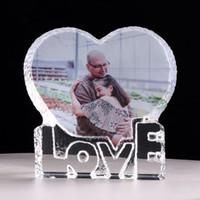 주문을 받아서 만들어진 사랑의 심장 크리스탈 사진 프레임 개인화 된 그림 프레임 결혼 선물을 손님을위한 생일 기념품 발렌타인 데이