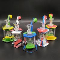 Mini tubulações de água Dab equipamentos de vidro Bong Silicone Bongs Tubulações de vidro PERCOLADORES Fumadores Bongo com Glass Banger / Bowl Atacado Preço