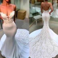 Elegantes vestidos de novia de sirena de encaje sin tirantes 2020 Aplique Sweep Tren Boda Boda Vestidos nupciales Robe de Mariée