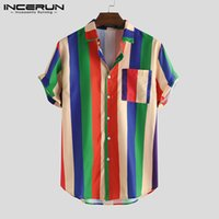 INCERUN Hombres camiseta de manga corta de la solapa de colores a rayas Casual Streetwear Moda blusa holgada Hawaiian Beach camisas de verano 2020