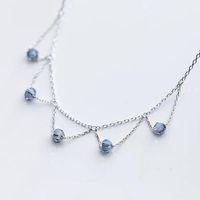 S925 joyería de gargantillas collar collar de plata de bolas de cristal violeta azulado borla hueco hacia fuera colgante triángulo para las mujeres