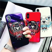 KNO Brand Blue Ray Tempered Glass Phone Case with Tiger Pain...