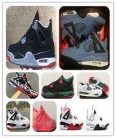 2019 4 gefokte heren basketbalschoenen cactus jack travis scotts x 4s Houston Oiler White Black Cement Raptors IV sport sneakers met doos
