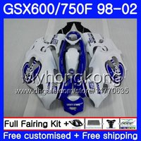 Body For SUZUKI GSXF 750 600 GSXF750 lucky blue white 1998 1999 2000 2001 2002 292HM.49 GSX 600F 750F KATANA GSXF600 98 99 00 01 02 Fairing