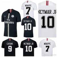18 19 psg champions league soccer jersey 7 mbappe black whit...