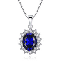14K White Gold Plated Blue Sapphire Pendant 925 Sterling Sil...