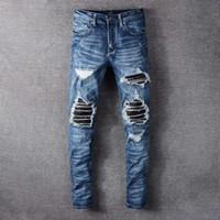 Para hombre de la moda estilista de los pantalones vaqueros para hombre del motorista de la motocicleta 19FW retro jeans rotos Hombres Mujeres Todo-Slim Fit Vaqueros Pantalones vaqueros