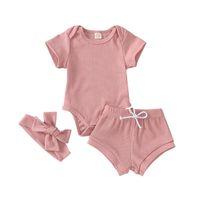 3pcs Mode New Baby layette du nouveau-né bébé solide à manches courtes Bodies Shorts Bandeau Set bébé Tenues enfant en bas âge 1-3T
