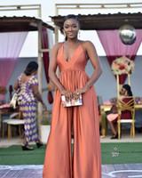 Seksi Spagetti Derin V Boyun Abiye Pantolon Suits Afrika Bir Çizgi Backless Balo Parti Abiye Tulum Ünlü Elbiseler