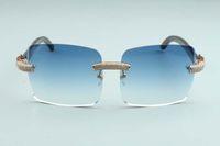 2020 venta caliente grandes lentes cuadrados micro allanar diamantes gafas de sol templos de cuerno de búfalo negro textura natural de L-3524012-D, tamaño: 56-18-140mm