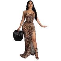 2020 Женщины Сексуальная Спинка Партии Пляжная Мода Печати Щелевая Сексуальные Вечерние Платья Женщины Ремешками Леопардовое Платье Дамы Летнее Платье