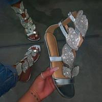 2020 Nueva verano plana inferior de lujo de la mariposa del Rhinestone de las sandalias de las mujeres zapatos planos de cuero del tirón de la sandalia al aire libre Flops Tamaño 35-43