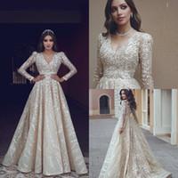2020 Arabische Abschlussballkleider V-Ausschnitt Lace Appliced Sweep Train Langarm Abendkleid Eine Linie Sonderanfertigte Besondere Anlässe Kleider