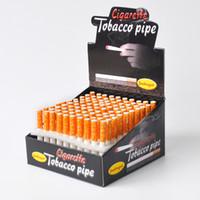 Filtre en céramique Cigarette Hitter Pipe Filtre Jaune Color100pcs / box Forme de la cigarette Tuyau à tabac Tuyaux à fumer en forme de batte frappeuse.