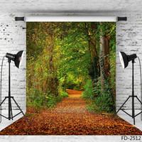 arrière-plans photographiques de vinyle de la voie forestière pour shooting photo 5X7ft toiles de fond en tissu pour les enfants bébé photoshootings de mariage