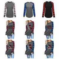 Women Plaid Christmas T- shirt Plus Size Xmas Tops Elk Long S...