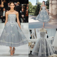 Paolo Sebastian 2019 Short Prom Dresses Strapless Lace Tea L...