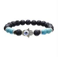 Naturel Pierre De Lave Turquoise Oeil De Tigre Fatima main Perle Bracelet Diy Volcan Huile Essentielle Diffuseur Bracelet pour femmes hommes bijoux