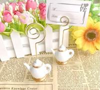 Ücretsiz kargo 100pcs Çay Saati Whimsy Çaydanlık çay fincanı Tasarım Yeri Kart Sahibi Fotoğraf Sahipleri Düğün Dekorasyon SN3902 Favors