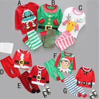 طفل عيد الميلاد الخريف ملابس نوم للأطفال عيد الميلاد Payamas القطن مخطط تي شيرت السراويل الدعاوى إلك طباعة الملابس مجموعات ملابس نوم تتسابق B6403