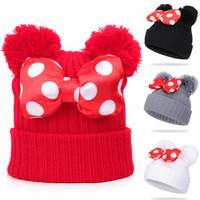 4 colores bebé pom pom beanie gorra niños niños niños niñas invierno cálido crochet punto sombrero arco piel arco sombrero al por mayor jy820