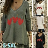 Women LOVE V- neck Spring Tshirts Summer Loose Casual Long Te...