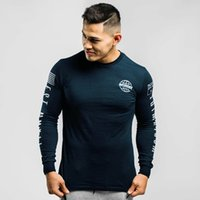 Venda quente impressão de Fitness Gym T-shirt longo da luva 28 Masculino Pure Cotton manga comprida T-shirt Moda Sweat-absorvente