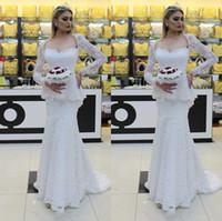 Abiti da sposa a maniche lunghe a maniche lunghe in pizzo pieno con peplo Sweetheart Square Neck Neck Gowns per la sposa