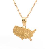 usa أمريكا خريطة قلادة قلادة للنساء 24 كيلو لون الذهب والمجوهرات الحب الولايات المتحدة العلم خريطة اليورو الأمريكية