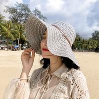 Playa grande plegable de 6 colores Sombrero de sol de moda sombrero de paja al aire libre del viaje del cordón de sol de las mujeres