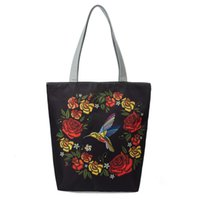 Women Canvas Embroidery Colorful Floral Bird Print Tote Bag ...