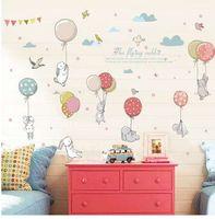 Kreskówka DIY Super Cute Balon Królik Naklejka Ścienna Dla Dzieci Ptaki Chmury Wystrój Meble Szafa Sypialnia Salon Kalkomania