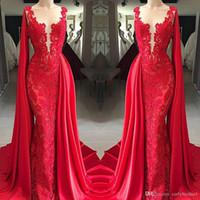 2020 Dentelle moderne Sheer cou rouge sirène robes de bal avec Cape manches Appliqued Robes formelles Tenue de soirée Longueur étage pas cher