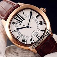 Nova unidade De WSNM0011 Mens Automatic Assista Rose Gold Silver Dial Big Roman Marcadores esqueleto Calendário Brown Leather Timezonewatch E105a1