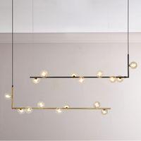 Moderner minimalistischer Leuchter beleuchtet für langen Leuchter des Küchenstehtisches geführte Designschwarz-Dachbodenglaskugel-hängende Leuchte