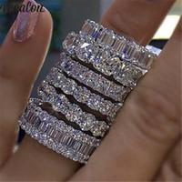 Vecalon 8 스타일 Lustre 약속 웨딩 밴드 반지 여성 남성 보석에 대 한 925 스털링 실버 다이아몬드 약혼 반지