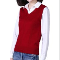 Autumn and winter new cashmere vest women V neck knitted swe...