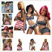 Beachwear Swim giyim seti D52701 baskı Yaz Kadınlar Şort Mayo 2 Adet Bikini Seti Mahsul Yelek Tankı Bras + Şort Mayo Çizgili