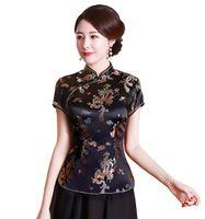 Moda-Chinês cheongsam top tradicional das Mulheres Chinesas faux Seda / Cetim Top dragão china e phoenix blusa Chinês Qipao camisa