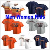 2020 Nueva encargo Hombres Mujeres Jóvenes Niños 27 José Altuve 2 Alex Bregman 1 Carlos Correa George Springer Justin Verlander Jersey de béisbol cosido