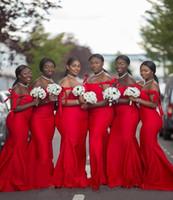Heiße rote afrikanische schwarze Mädchen Brautjungfernkleider Meerjungfrau Sexy von der Schulter Ärmellosen Bodenlangen Satin plus Größenkleid für Mi BD8938