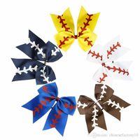 10 Kolory Softball Hair Ponytail Team Drużyna Baseball Cheer Bows Hairbands Wstążka Glitter Rugby Bowknot Girl Hair Hair Posiadacze do Cheerleading DHL