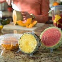 Taze Mühür Bowl Sıkı Wrap Kapak Mutfak Aksesuarları tutulması 6 Adet Silikon Stretch Kapaklar Yeniden kullanılabilir Hava geçirmez Gıda Wrap Kapaklar