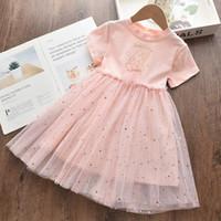 Mädchen Kleider 2021 Sommer Mädchen Süße Kinder Karton Prinzessin Kleid Kinder Kostüme Baby Pailletten Vestidos 3 7Y