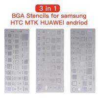 Yüksek Kalite 3 adet / grup Evrensel BGA Şablonlar için MTK Samsung HTC HUAWEI Android Doğrudan Isıtmalı BGA Reballing Stencils Kit