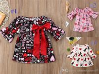 Bebek Kız Elbise Butik Sevgililer Günü Aşk Flare Kollu Yay Prenses Dinozor Köpek Baskılı Elbise Bebek