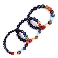 7 Chakra Bracelet Healing Natural Stone Bracelet Sandstone Star Space Solar System Planetary Handstring Handmade Bracelets Gift 6mm 8mm